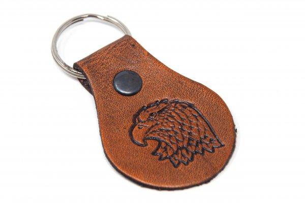 Schlüsselanhänger aus Leder - Weißkopfseeadlerkopf