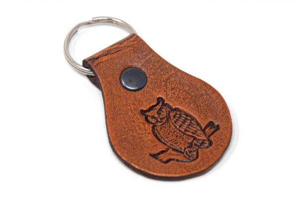 Schlüsselanhänger aus Leder - Eule