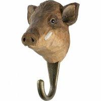 Kleiderhaken aus Holz - Tierkopf Wildschwein
