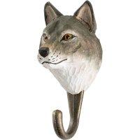 Kleiderhaken aus Holz - Tierkopf Wolf
