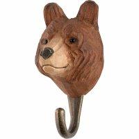 Kleiderhaken aus Holz - Tierkopf Bär