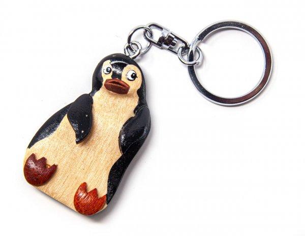 Schlüsselanhänger aus Holz - Pinguin