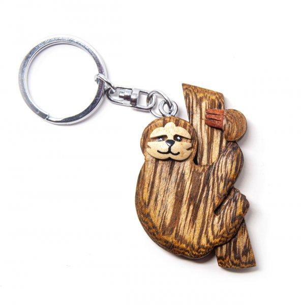 Schlüsselanhänger aus Holz - Faultier