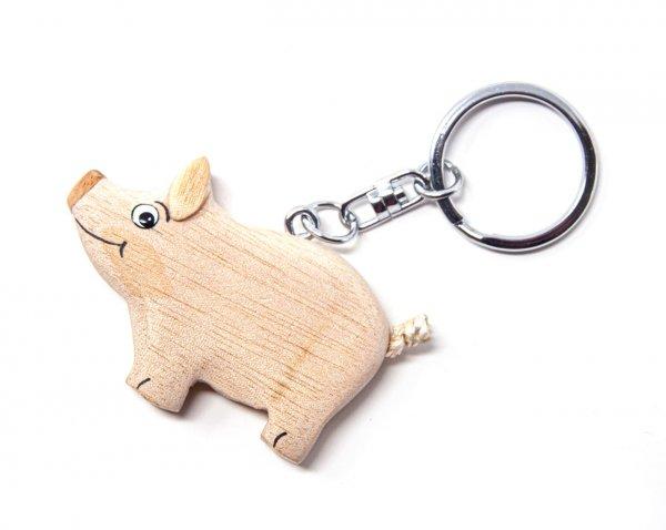 Schlüsselanhänger aus Holz - Schwein