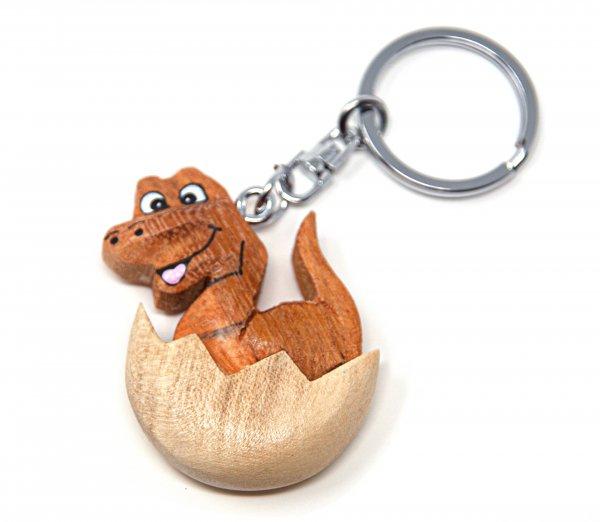 Schlüsselanhänger aus Holz - Dinosaurier-Ei