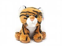 Kuscheltier - brauner Tiger sitzend mit Glubschaugen - 25 cm