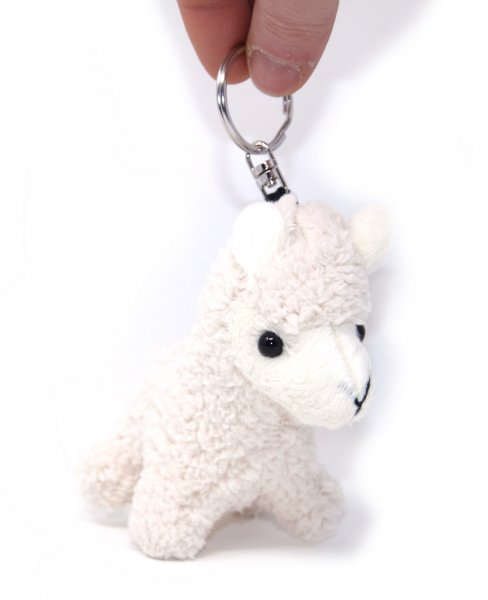 Plüsch Schlüsselanhänger - weißes Alpaka