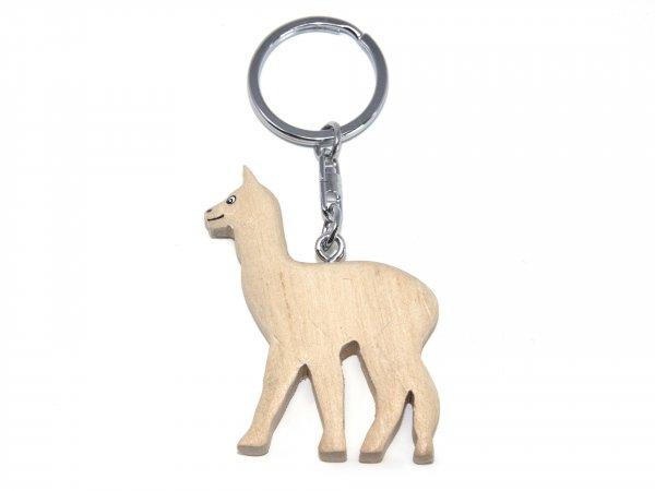 Schlüsselanhänger aus Holz - Alpaka - weiss